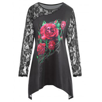 Plus Size Lace Panel Halloween Rose Skull Print Tee - BLACK BLACK