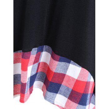 Plus Size Plaid Panel Handkerchief T-shirt - BLACK 4XL