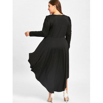 Robe de cocktail à col en V grand format - Noir 4XL