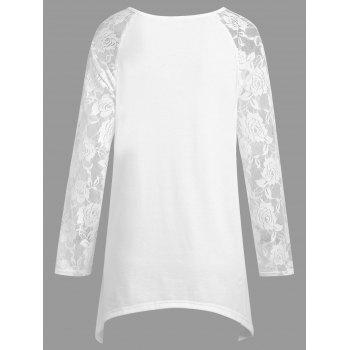 Plus Size Halloween Pumpkin Lace Panel Asymmetrical T-shirt - WHITE XL