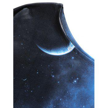 Starry Sky Universe Print One Shoulder Sweatshirt - BLACK/BLUE S