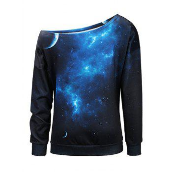 Starry Sky Universe Print One Shoulder Sweatshirt - L L