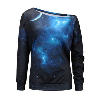 Starry Sky Universe Print One Shoulder Sweatshirt - BLACK AND BLUE L