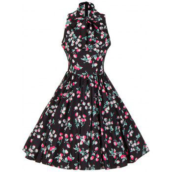 Bow Tie Neck Cherry Print Swing Dress - BLACK M