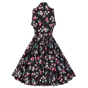 Bow Tie Neck Cherry Print Swing Dress - M M
