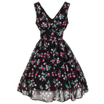 Plunging Neckline Backless Cherry Print Skater Dress - BLACK L