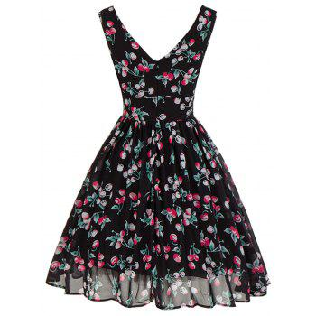 Plunging Neckline Backless Cherry Print Skater Dress - L L