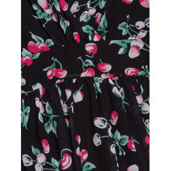 Plunging Neckline Backless Cherry Print Skater Dress - BLACK 2XL