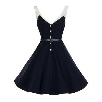 Vintage V Neck Buttoned Backless Pin Up Skater Dress - PURPLISH BLUE S