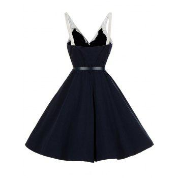 Vintage V Neck Buttoned Backless Pin Up Skater Dress - PURPLISH BLUE M