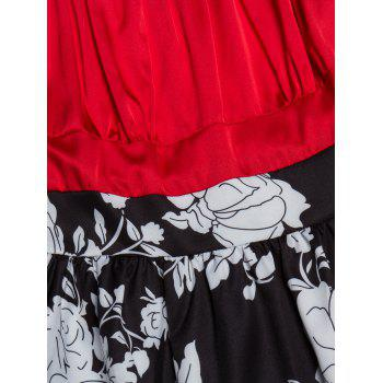 Vintage Floral Print Colorblock Ruched Pinup Dress - RED M