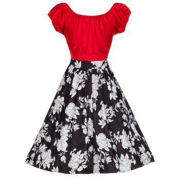 Vintage Floral Print Colorblock Ruched Pinup Dress - M M