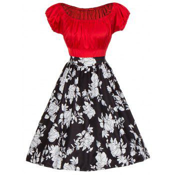 Vintage Floral Print Colorblock Ruched Pinup Dress - RED RED