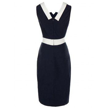 Vintage Color Block Pencil Bodycon Dress - PURPLISH BLUE M