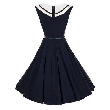 Vintage Sailor Collar Buttoned Pin Up Dress - PURPLISH BLUE M