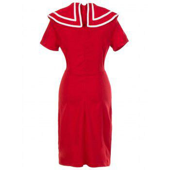 Vintage Double Breasted Bodycon Dress - RED S