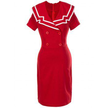Vintage Double Breasted Bodycon Dress - RED L