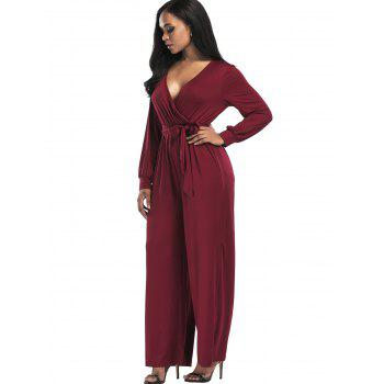 Surplice Belted Wide Leg Jumpsuit - WINE RED S