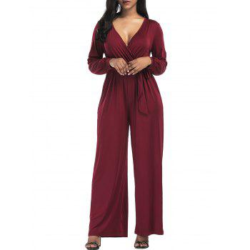 Surplice Belted Wide Leg Jumpsuit - WINE RED M