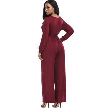 Surplice Belted Wide Leg Jumpsuit - WINE RED XL