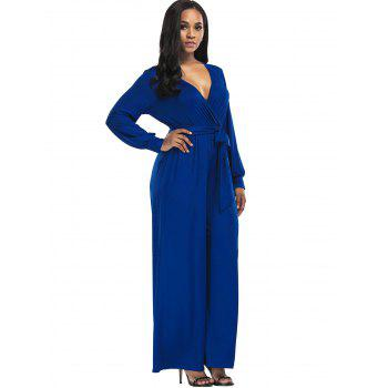 Surplice Belted Wide Leg Jumpsuit - BLUE XL