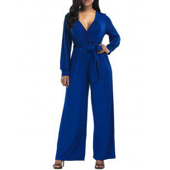 Surplice Belted Wide Leg Jumpsuit - BLUE M