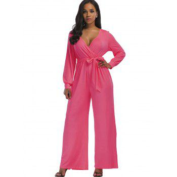 Surplice Belted Wide Leg Jumpsuit - PINK S