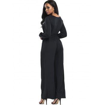 Surplice Belted Wide Leg Jumpsuit - BLACK L