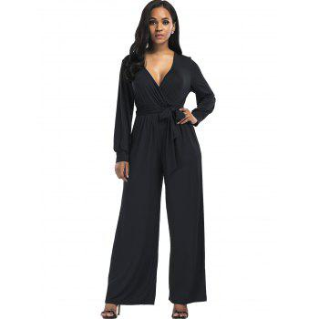 Surplice Belted Wide Leg Jumpsuit - BLACK M