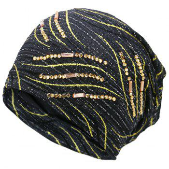 Wave Stripe Design Rhinestone Decorated Beanie - BLACK BLACK