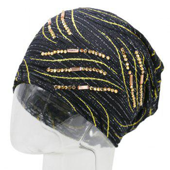 Wave Stripe Design Rhinestone Decorated Beanie -  BLACK