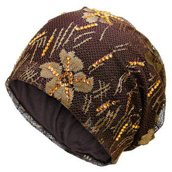Lace Sequins Embellished Floral Embroidery Pattern Beanie - COFFEE COFFEE