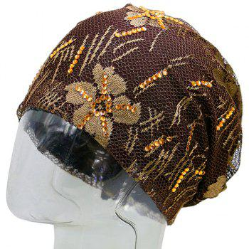 Lace Sequins Embellished Floral Embroidery Pattern Beanie -  COFFEE