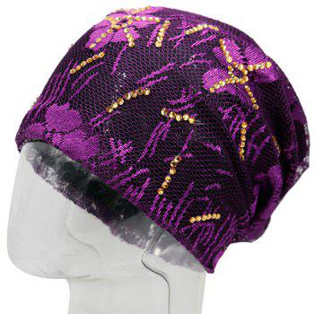 Lace Sequins Embellished Floral Embroidery Pattern Beanie - PURPLE PURPLE