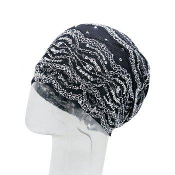 Outdoor Striped Pattern Sequin Embellished Beanie Hat - BLACK