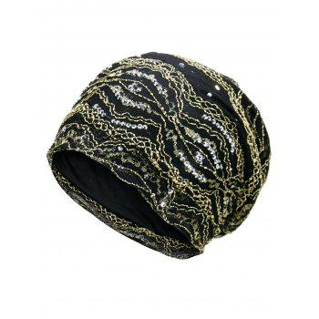 Outdoor Striped Pattern Sequin Embellished Beanie Hat - GOLDEN GOLDEN