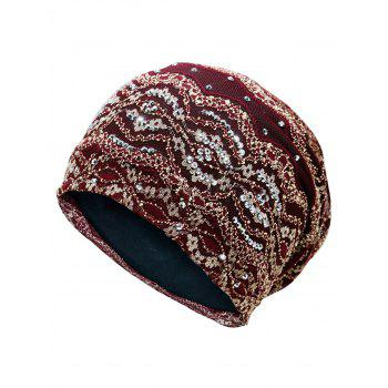 Outdoor Striped Pattern Sequin Embellished Beanie Hat - WINE RED WINE RED