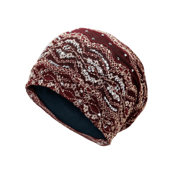 Outdoor Striped Pattern Sequin Embellished Beanie Hat - WINE RED