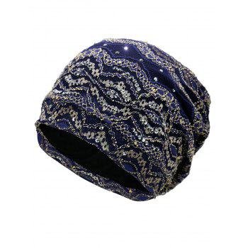Outdoor Striped Pattern Sequin Embellished Beanie Hat - DEEP BLUE DEEP BLUE