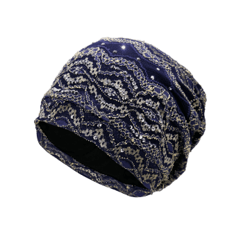 Outdoor Striped Pattern Sequin Embellished Beanie Hat - DEEP BLUE