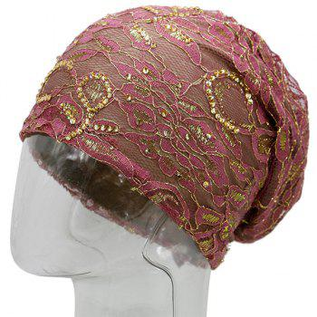 Floral Embroidery Rhinestone Decorated Beanie -  LIGHT PURPLE