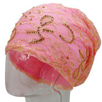 Floral Embroidery Rhinestone Decorated Beanie -  PINK