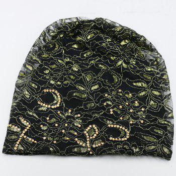 Floral Embroidery Rhinestone Decorated Beanie - BLACK