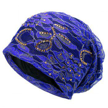 Floral Embroidery Rhinestone Decorated Beanie - BLUE BLUE