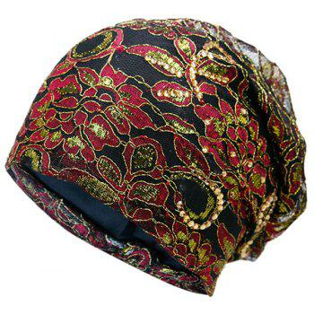 Floral Embroidery Rhinestone Decorated Beanie - BLACK RED BLACK RED