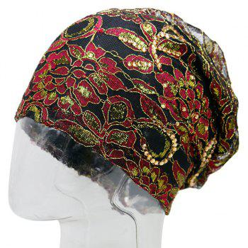 Floral Embroidery Rhinestone Decorated Beanie - BLACK RED