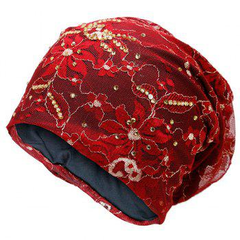 Vintage Flower Embroidered Rhinestone Beanie Hat - RED RED