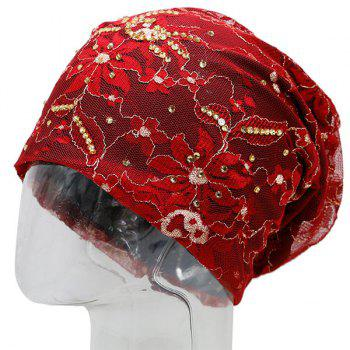 Vintage Flower Embroidered Rhinestone Beanie Hat - RED