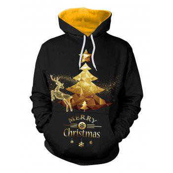 Merry Christmas Glitter Tree Elk Snowflake Hoodie - BLACK 2XL