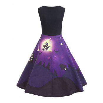 Halloween Bat Castle Vintage A Line Dress - PURPLE 2XL